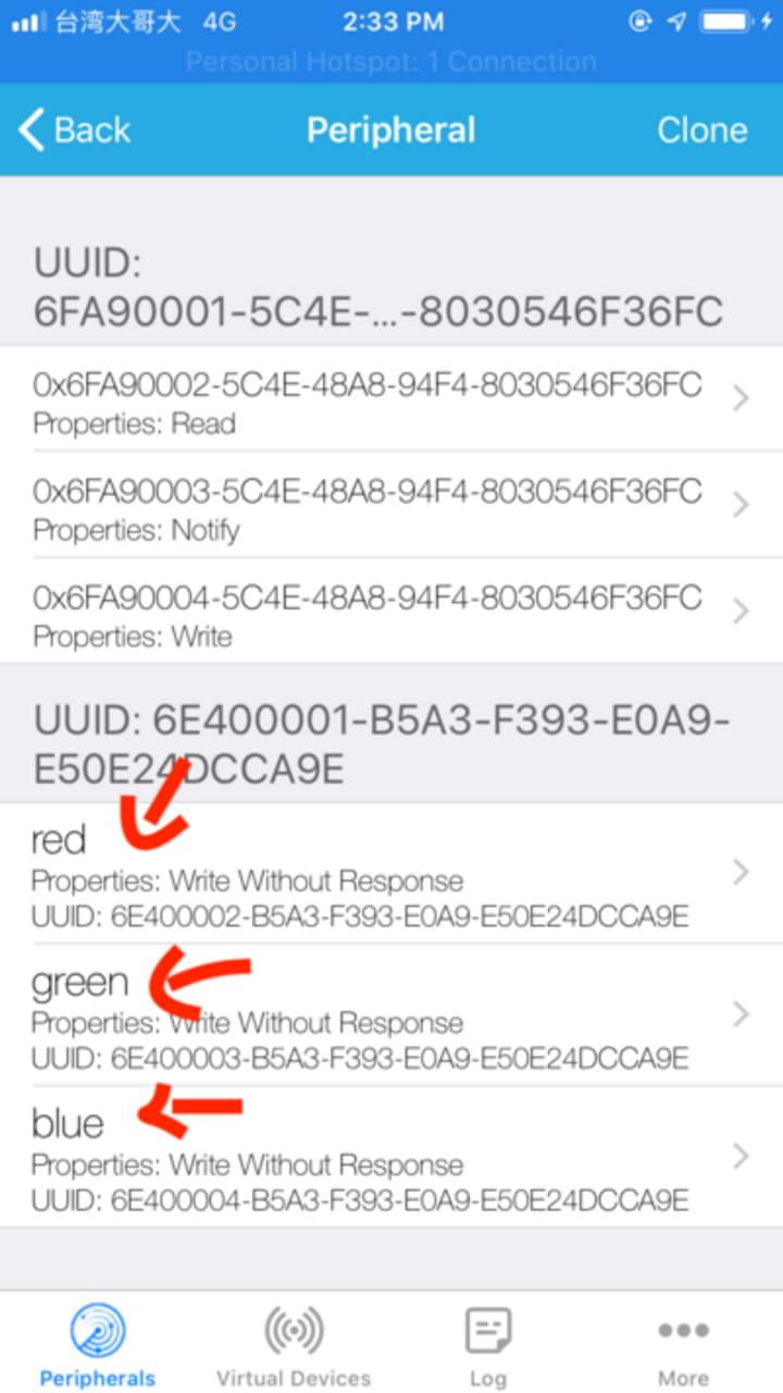Confirm Light Blue Explorer has new characteristic UUIDs