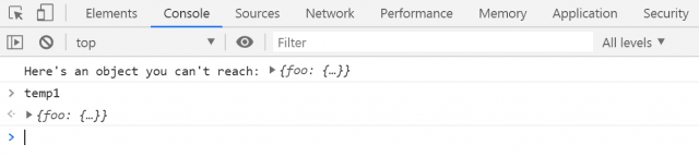 ...and we've got the object as `temp1`!