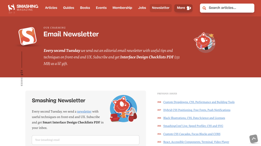 Smashing Newsletter Screenshot