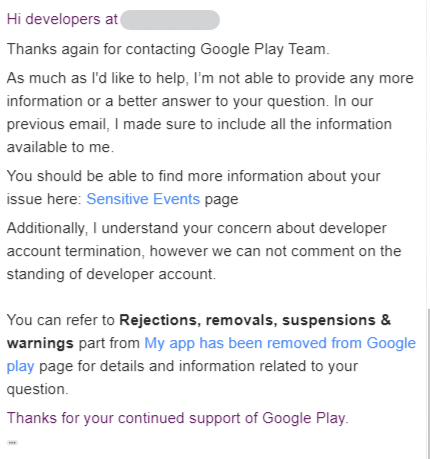 Google's reply to 2nd appeal