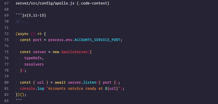 Markdown code block example
