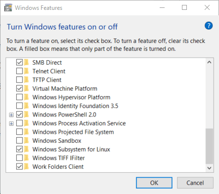 Turn on WSL feature