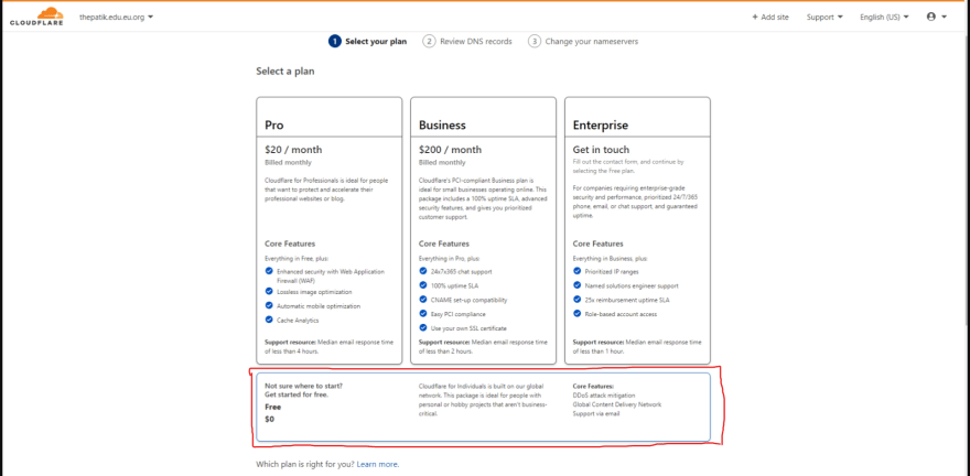 Select package of Cloudflare domain