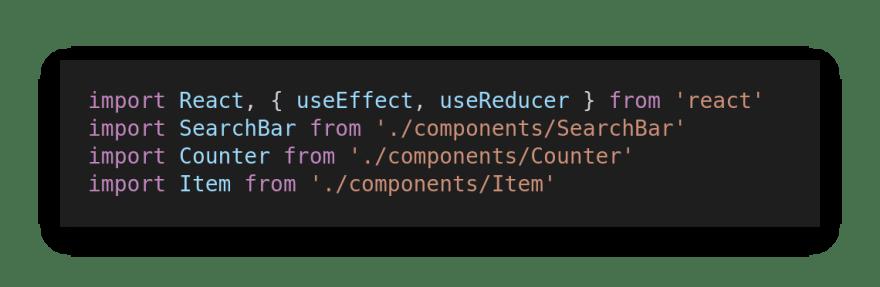 The App.js imports