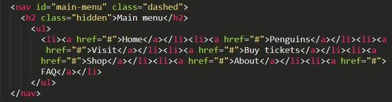 html code with li elements on one line
