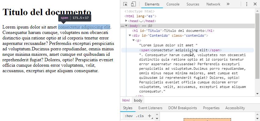 DOM visualizado en el navegador