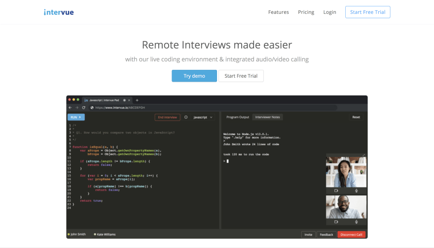 Intervue.io: An easier and efficient ways to take remote programming interviews