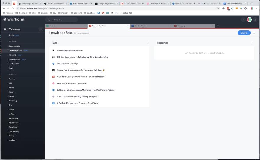 Screenshot of my Workona extension
