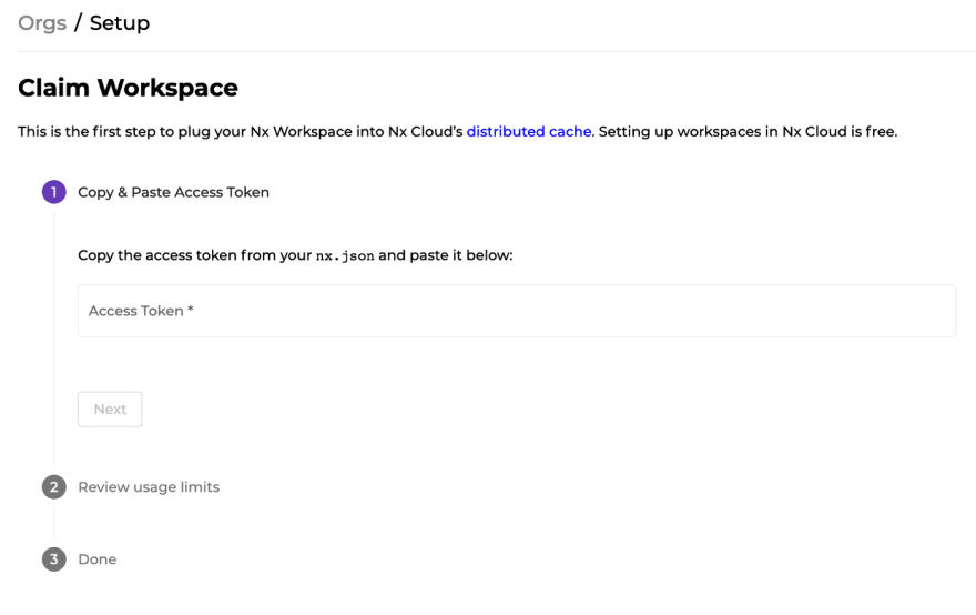 Claim Workspace page on Nx Cloud prompting for access token