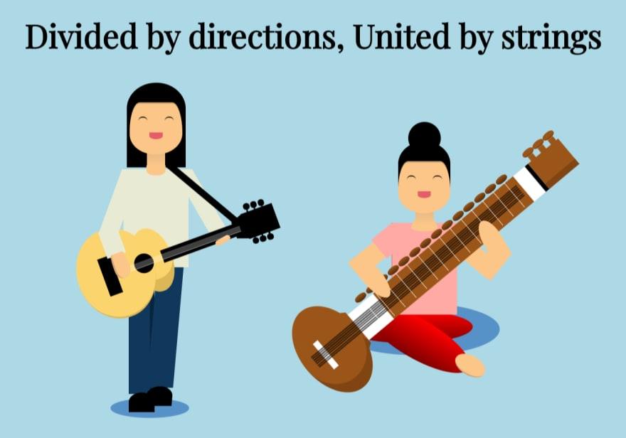 Guitar and sitar CSS illustration