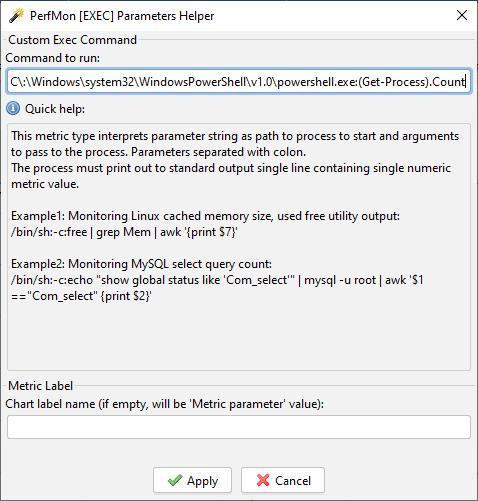 PerfMon Parameters Help