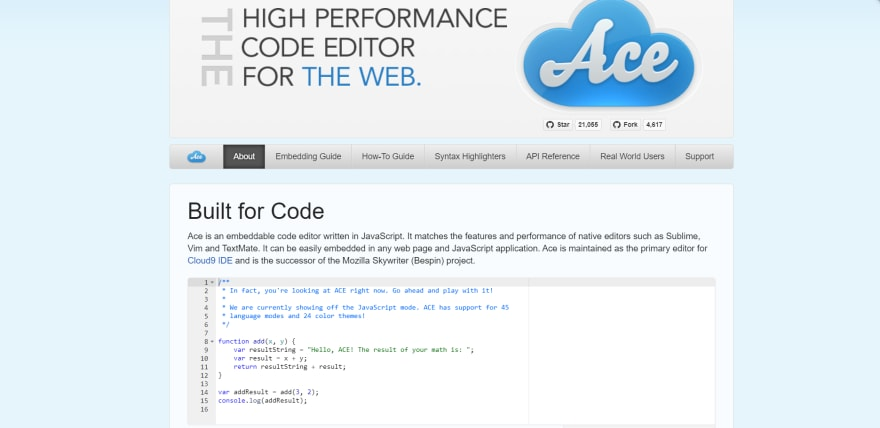 Ace Editor official landing page