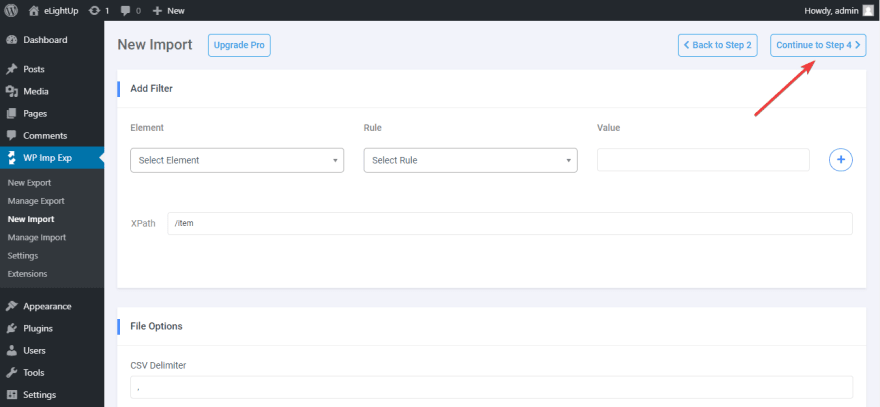 There are some advanced options to configure the export data file.