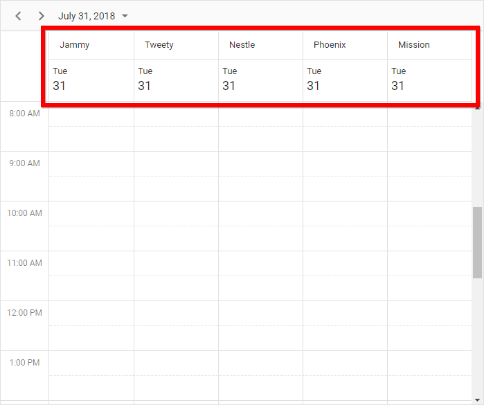 Scheduler with resources grouped on the layout