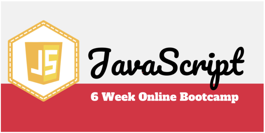 Graphic says, JS bootcamp 6 weeks
