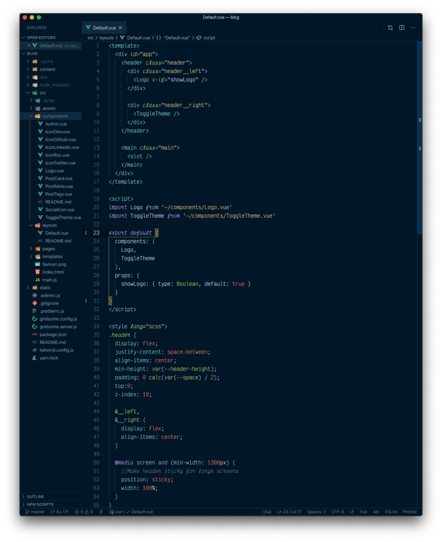 A Vue.js file with the night owl theme active
