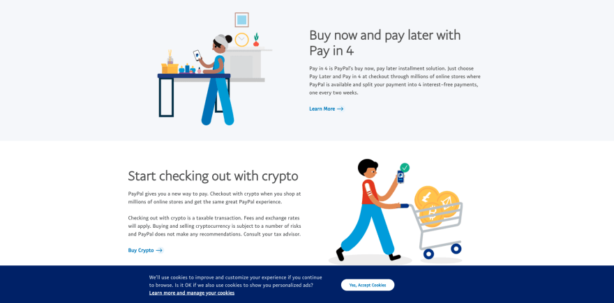 Paypal website section