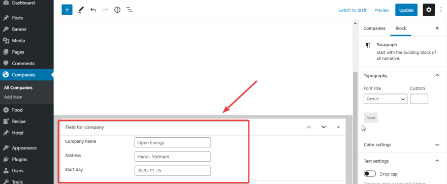 The custom fields are displayed in the Companies post type.