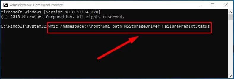 wmic /namespace:\\root\wmi path MSStorageDriver_FailurePredictStatus
