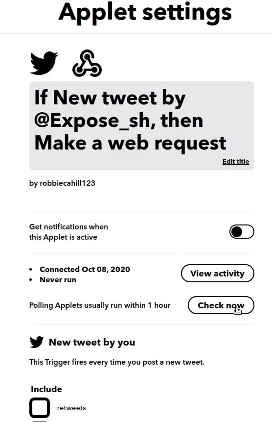 click check now