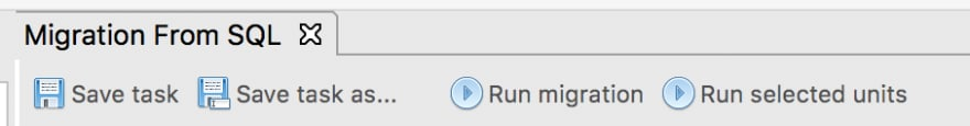 Click on Run Migration in the toolbar