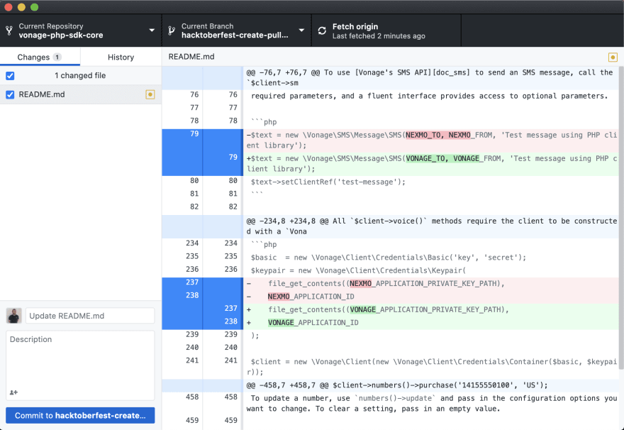 Compare Changes in Github Desktop