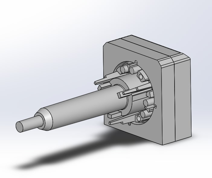 A cool mold core pin CAD view, zoomed out.