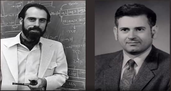 Right: Vint Cert, Left: Bob Khan in the early 1970s
