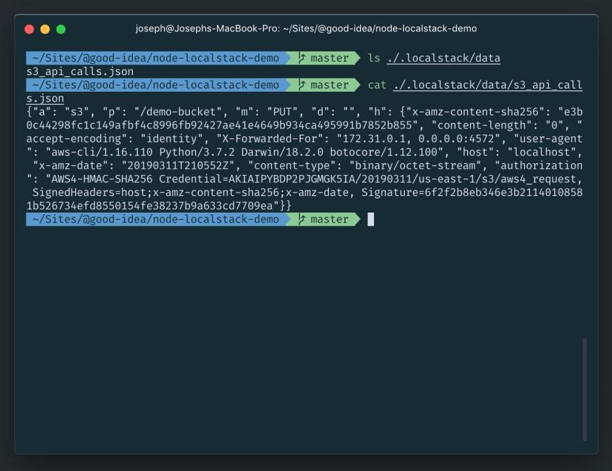 Localstack S3 JSON