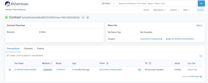Ropsten Etherscan Contract Details Display