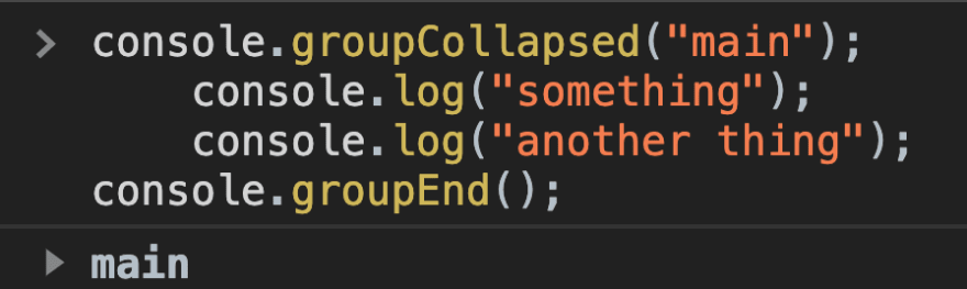Showing groupCollapsed having the grouping collapsed by default