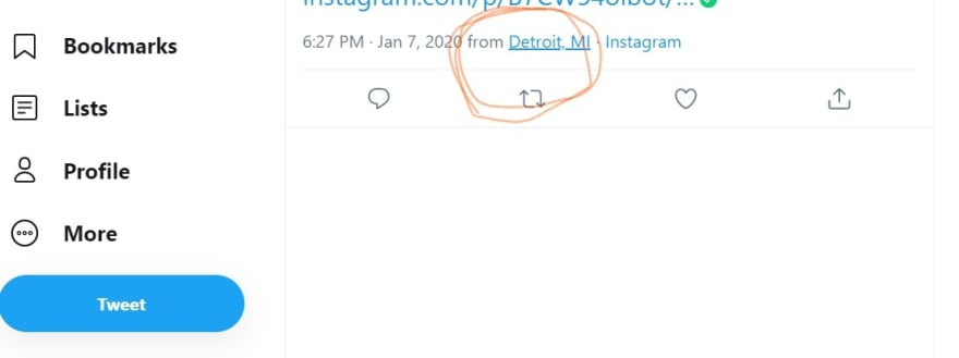 A screen shot of a tweet showing the city and state listed.