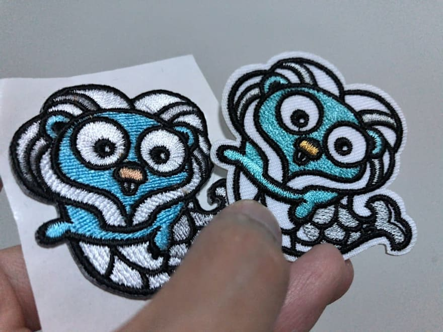 Gophercon Singapore mascot embroidered stickers comparison between two vendors