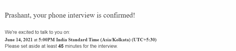 Phone interview confirmation