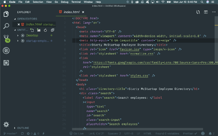 Screenshot of Material Theme color for VSCode