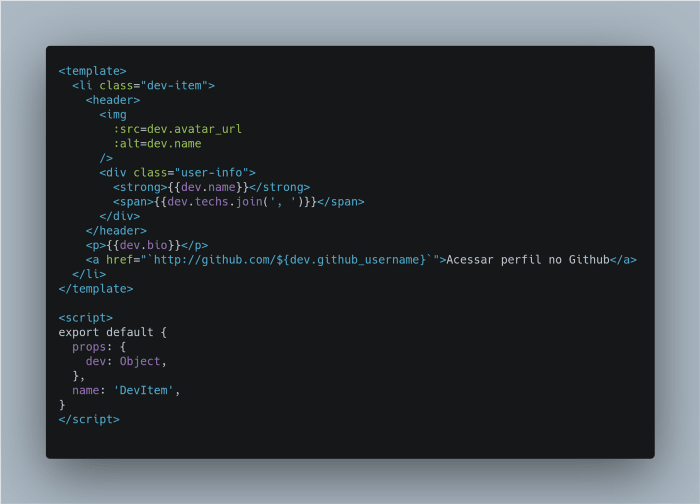 Snippet of the iteration in the devs list implemented in React