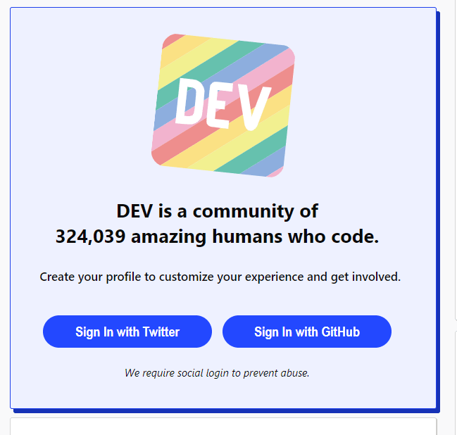 DEV ad block from not logged in page indicating there are 324,039 amazing humans who code as community members.