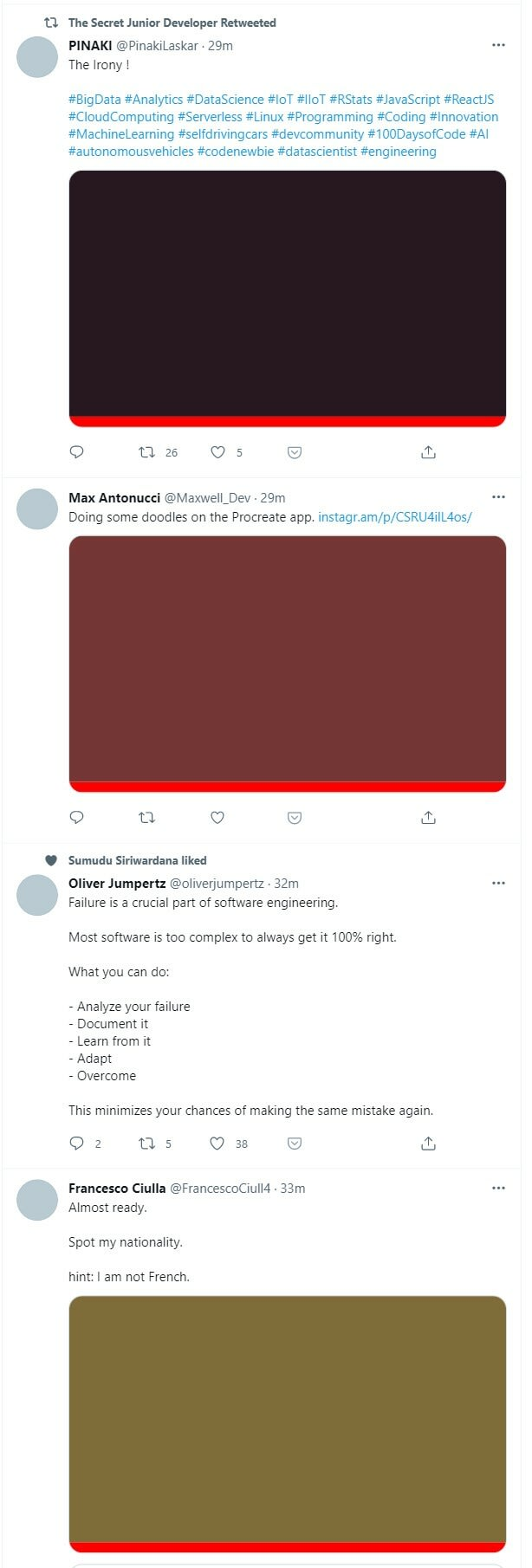 Twitter feed example with 3 images all with no alt text showing and just a red bar instead and various colour backgrounds where the images should be. None of the tweets makes sense without the image as the image is the context and main subject of the tweet