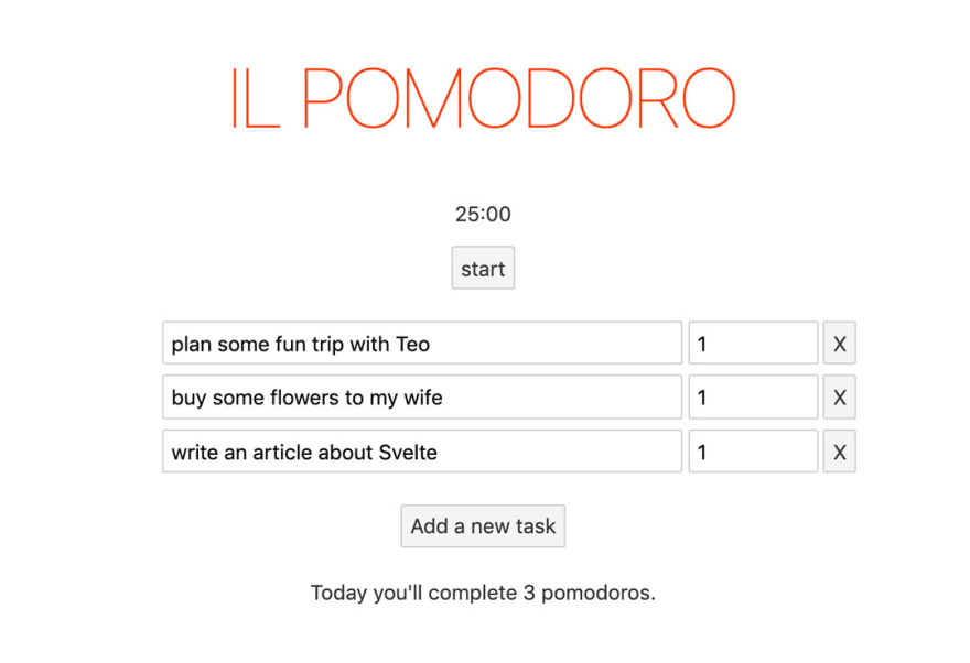 A pomodoro app with a timer and a series of tasks