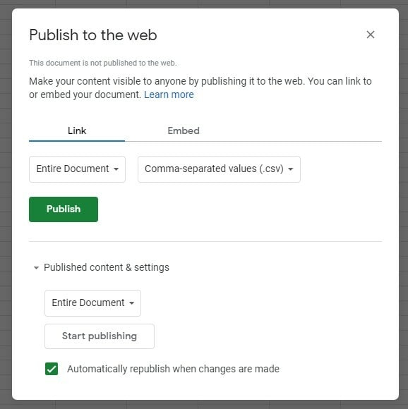 Publishing to the web