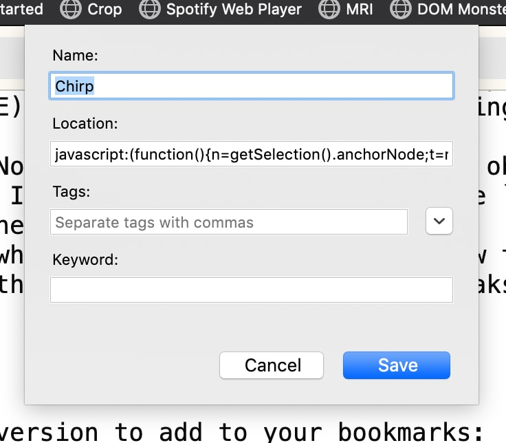 Bookmark settings