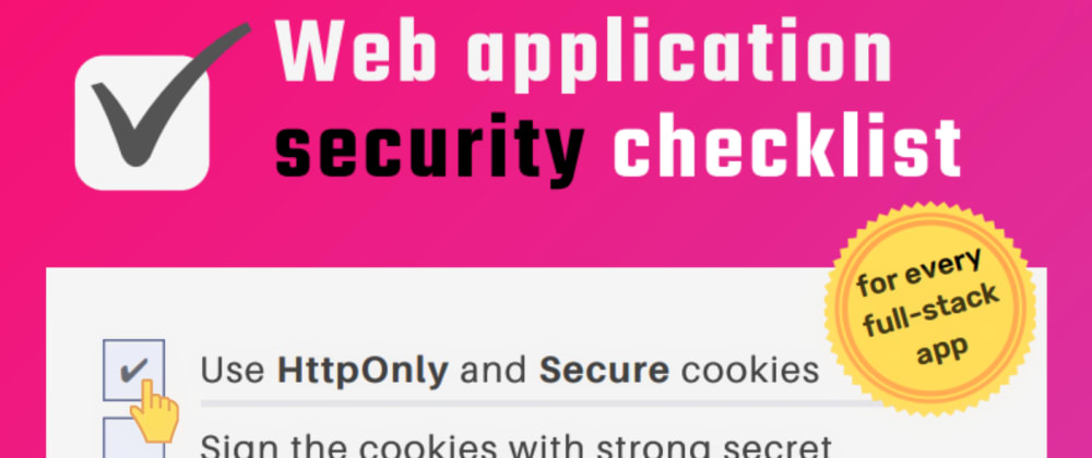 Cover image for Web Security Checklist ✔