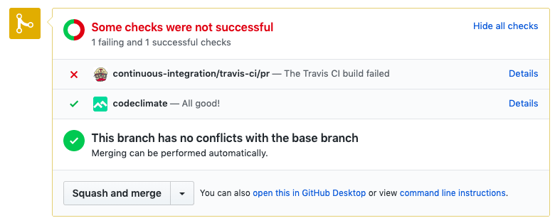 Github Pull Request Travis CI and Code Climate integration