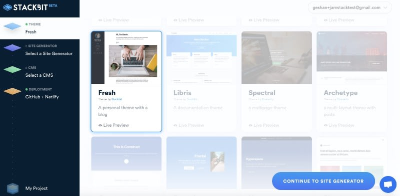 Choose Fresh as your website theme