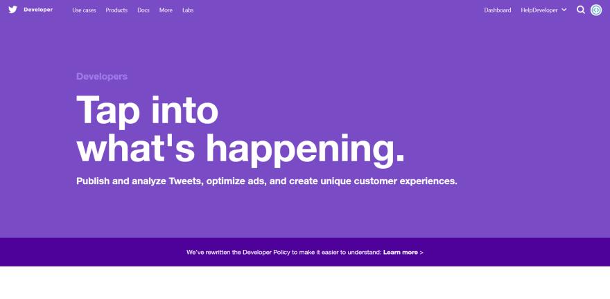 Twitter developer website