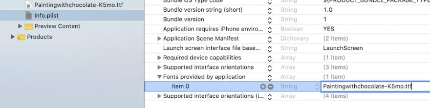 Setting Info.plist entry