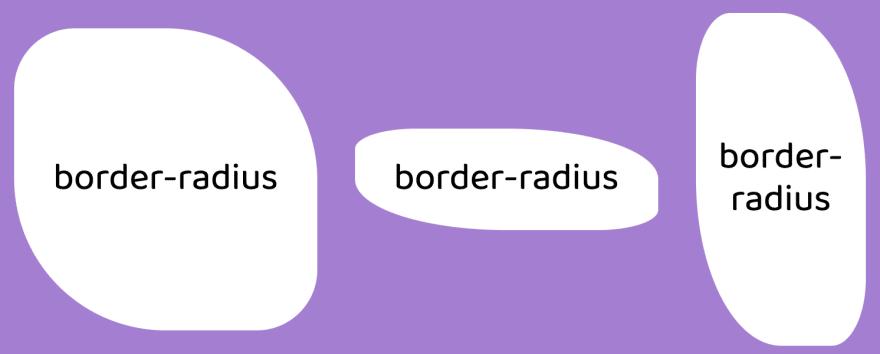 same border-radius value applied to various size divs