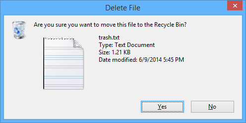 A typical confirmation dialog in Windows operating system