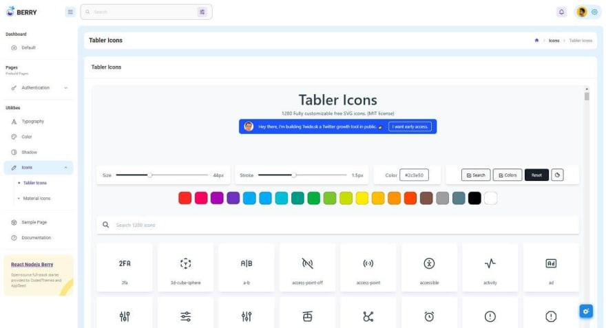 React Node JS Berry - UI Icons page.