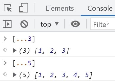 Example in the chrome console